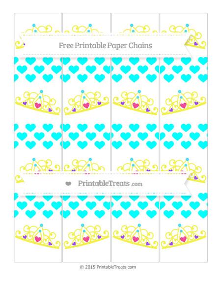 Free Aqua Blue Heart Pattern Princess Tiara Paper Chains