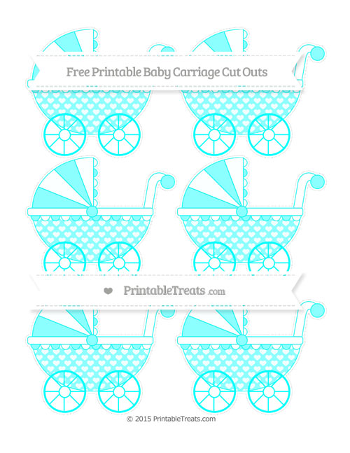 Free Aqua Blue Heart Pattern Small Baby Carriage Cut Outs
