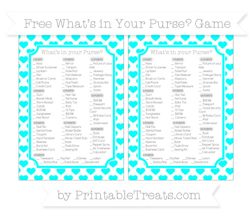 Free Aqua Blue Heart Pattern What's in Your Purse Baby Shower Game