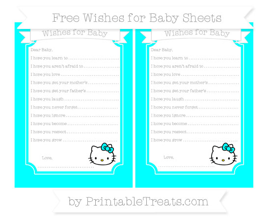 Free Aqua Blue Hello Kitty Wishes for Baby Sheets