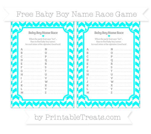 Free Aqua Blue Herringbone Pattern Baby Boy Name Race Game