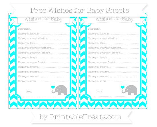 Free Aqua Blue Herringbone Pattern Baby Elephant Wishes for Baby Sheets