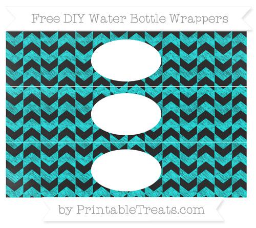 Free Aqua Blue Herringbone Pattern Chalk Style DIY Water Bottle Wrappers