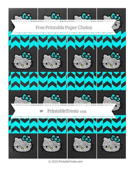 Free Aqua Blue Herringbone Pattern Chalk Style Hello Kitty Paper Chains