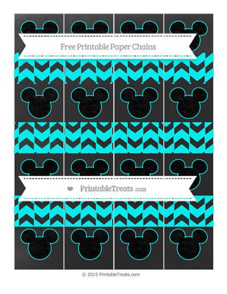 Free Aqua Blue Herringbone Pattern Chalk Style Mickey Mouse Paper Chains