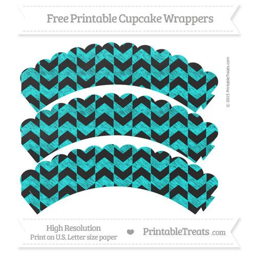 Free Aqua Blue Herringbone Pattern Chalk Style Scalloped Cupcake Wrappers