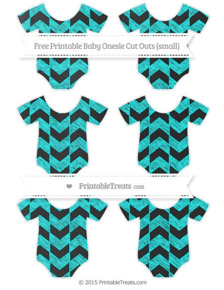 Free Aqua Blue Herringbone Pattern Chalk Style Small Baby Onesie Cut Outs