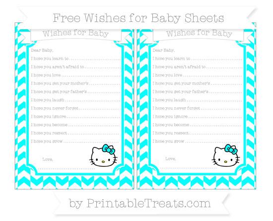 Free Aqua Blue Herringbone Pattern Hello Kitty Wishes for Baby Sheets