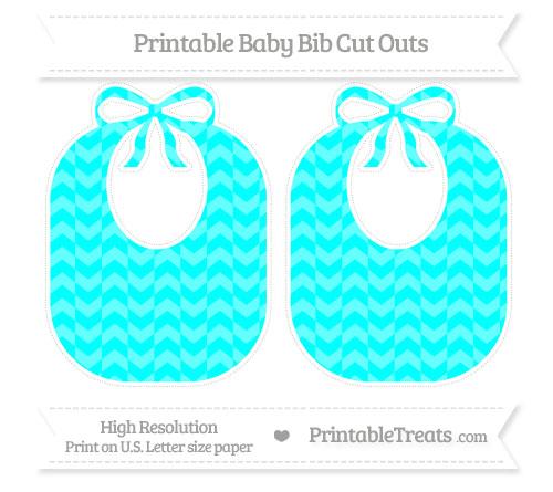 Free Aqua Blue Herringbone Pattern Large Baby Bib Cut Outs