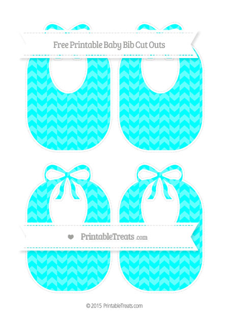 Free Aqua Blue Herringbone Pattern Medium Baby Bib Cut Outs