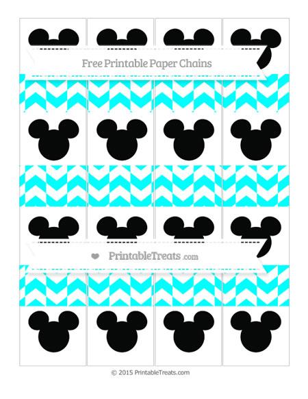 Free Aqua Blue Herringbone Pattern Mickey Mouse Paper Chains