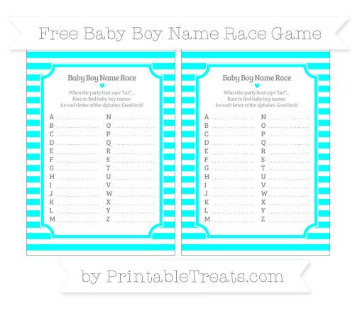 Free Aqua Blue Horizontal Striped Baby Boy Name Race Game