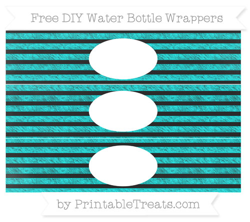 Free Aqua Blue Horizontal Striped Chalk Style DIY Water Bottle Wrappers