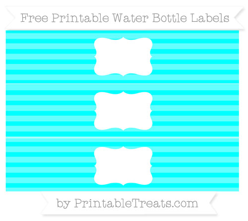 Free Aqua Blue Horizontal Striped Water Bottle Labels