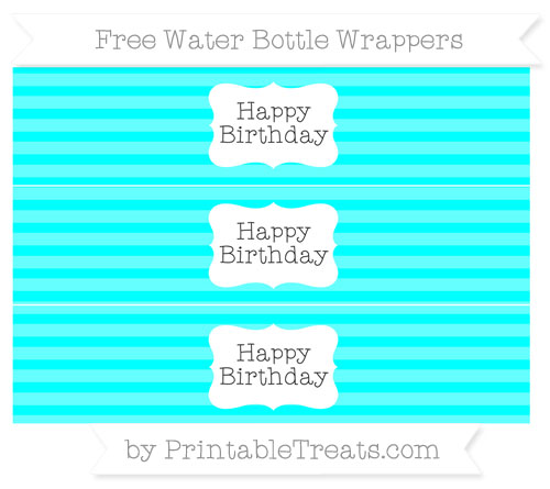 Free Aqua Blue Horizontal Striped Happy Birhtday Water Bottle Wrappers