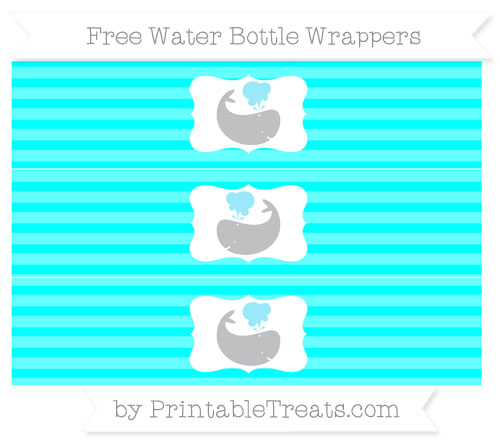 Free Aqua Blue Horizontal Striped Whale Water Bottle Wrappers