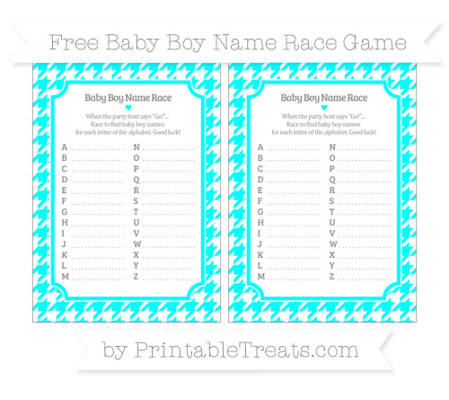 Free Aqua Blue Houndstooth Pattern Baby Boy Name Race Game