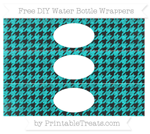 Free Aqua Blue Houndstooth Pattern Chalk Style DIY Water Bottle Wrappers