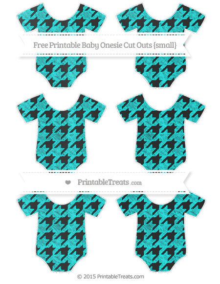 Free Aqua Blue Houndstooth Pattern Chalk Style Small Baby Onesie Cut Outs