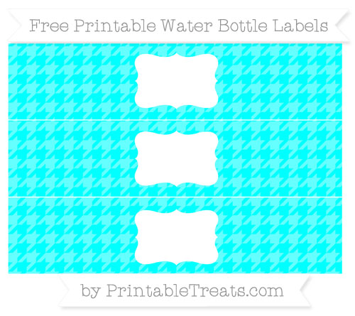 Free Aqua Blue Houndstooth Pattern Water Bottle Labels