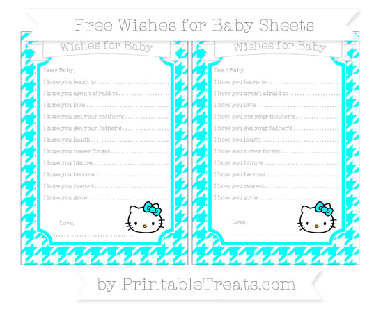 Free Aqua Blue Houndstooth Pattern Hello Kitty Wishes for Baby Sheets