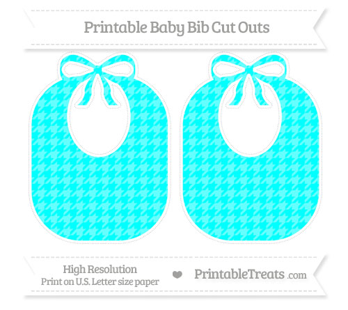 Free Aqua Blue Houndstooth Pattern Large Baby Bib Cut Outs