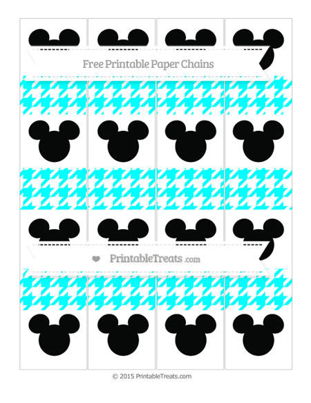 Free Aqua Blue Houndstooth Pattern Mickey Mouse Paper Chains