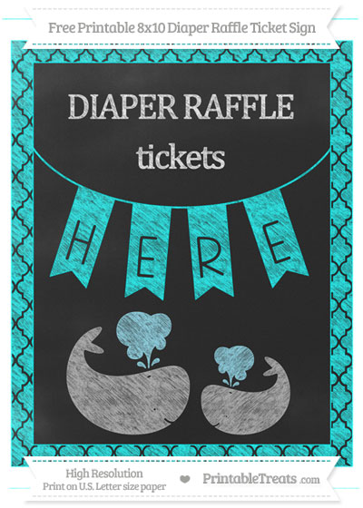 Free Aqua Blue Moroccan Tile Chalk Style Baby Whale 8x10 Diaper Raffle Ticket Sign