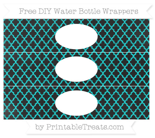 Free Aqua Blue Moroccan Tile Chalk Style DIY Water Bottle Wrappers