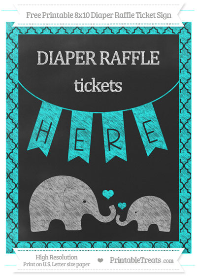Free Aqua Blue Moroccan Tile Chalk Style Elephant 8x10 Diaper Raffle Ticket Sign