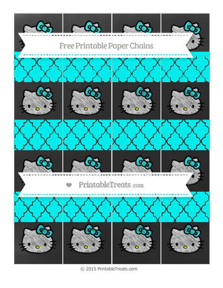Free Aqua Blue Moroccan Tile Chalk Style Hello Kitty Paper Chains