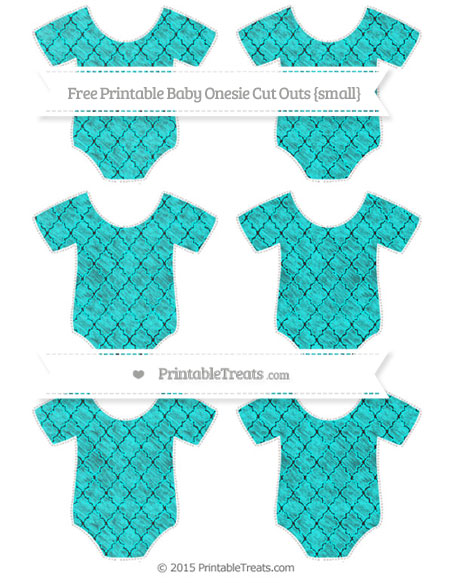 Free Aqua Blue Moroccan Tile Chalk Style Small Baby Onesie Cut Outs