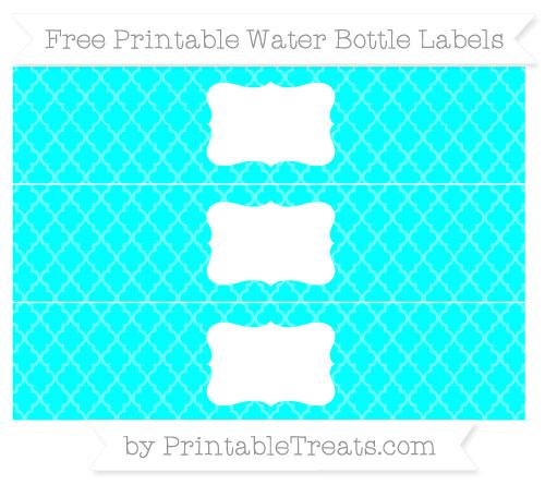 Free Aqua Blue Moroccan Tile Water Bottle Labels
