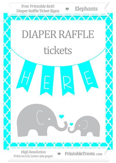 Free Aqua Blue Moroccan Tile Elephant 8x10 Diaper Raffle Ticket Sign