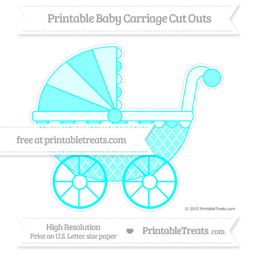 Free Aqua Blue Moroccan Tile Extra Large Baby Carriage Cut Outs