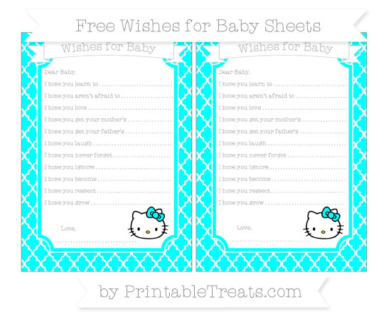 Free Aqua Blue Moroccan Tile Hello Kitty Wishes for Baby Sheets