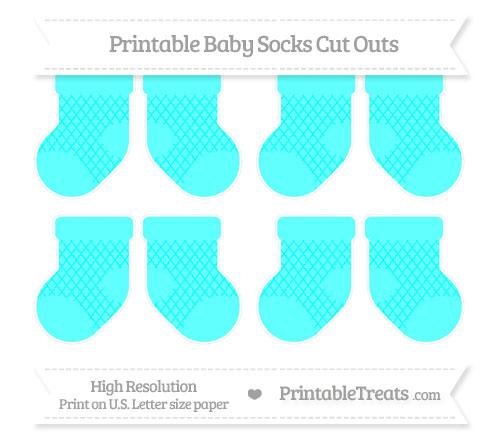 Free Aqua Blue Moroccan Tile Small Baby Socks Cut Outs