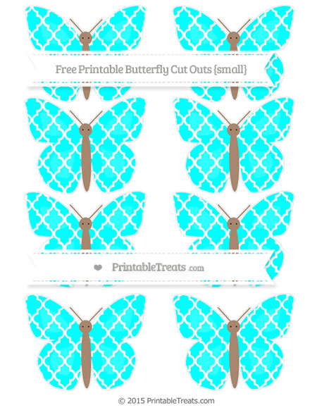 Free Aqua Blue Moroccan Tile Small Butterfly Cut Outs