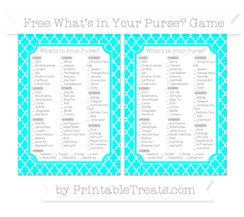 Free Aqua Blue Moroccan Tile What's in Your Purse Baby Shower Game