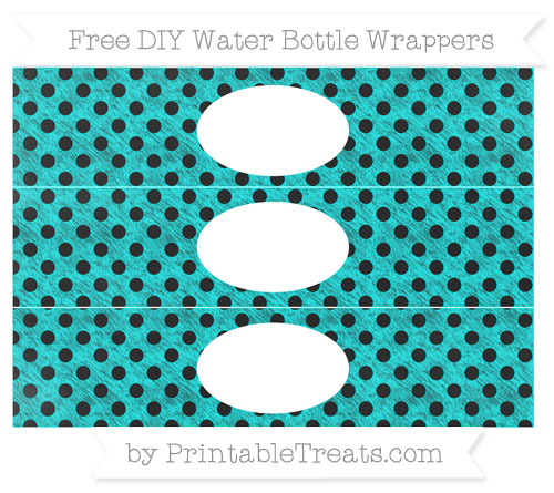 Free Aqua Blue Polka Dot Chalk Style DIY Water Bottle Wrappers