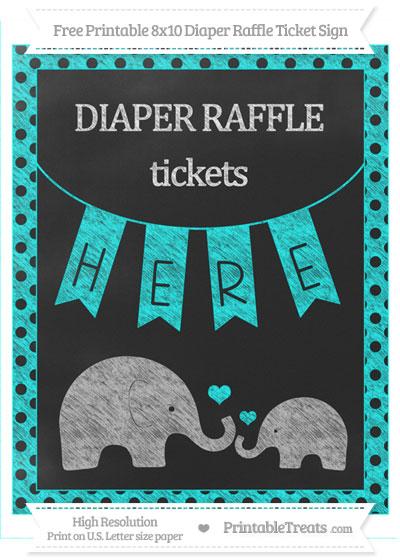 Free Aqua Blue Polka Dot Chalk Style Elephant 8x10 Diaper Raffle Ticket Sign