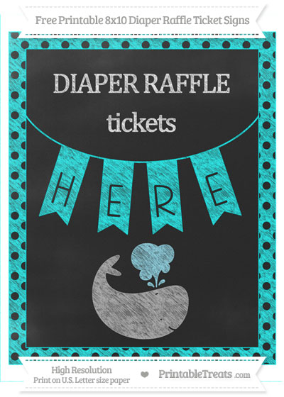 Free Aqua Blue Polka Dot Chalk Style Whale 8x10 Diaper Raffle Ticket Sign