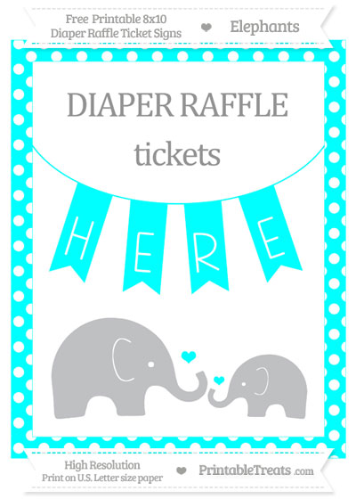 Free Aqua Blue Polka Dot Elephant 8x10 Diaper Raffle Ticket Sign