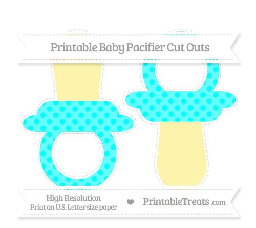 Free Aqua Blue Polka Dot Large Baby Pacifier Cut Outs