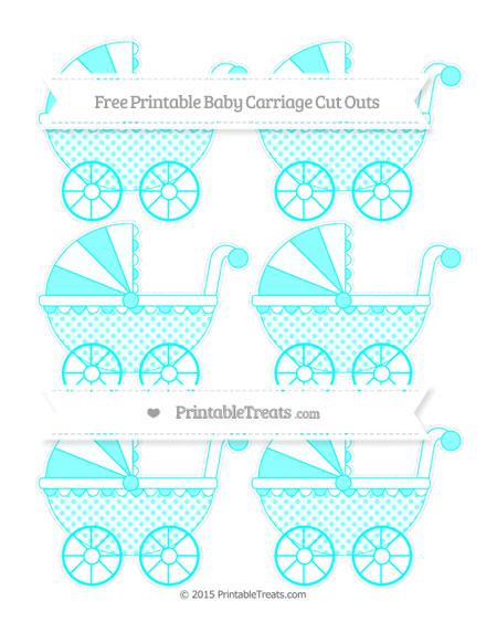 Free Aqua Blue Polka Dot Small Baby Carriage Cut Outs