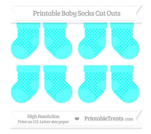 Free Aqua Blue Polka Dot Small Baby Socks Cut Outs