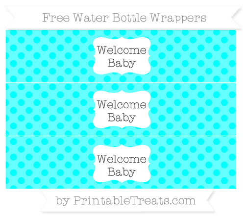 Free Aqua Blue Polka Dot Welcome Baby Water Bottle Wrappers