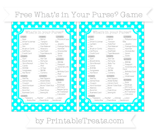 Free Aqua Blue Polka Dot What's in Your Purse Baby Shower Game