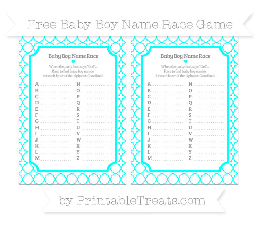 Free Aqua Blue Quatrefoil Pattern Baby Boy Name Race Game