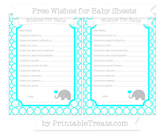 Free Aqua Blue Quatrefoil Pattern Baby Elephant Wishes for Baby Sheets